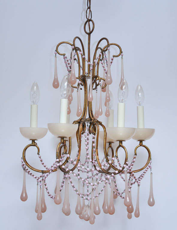 Pale Pink Opaline Glass Chandelier image 2
