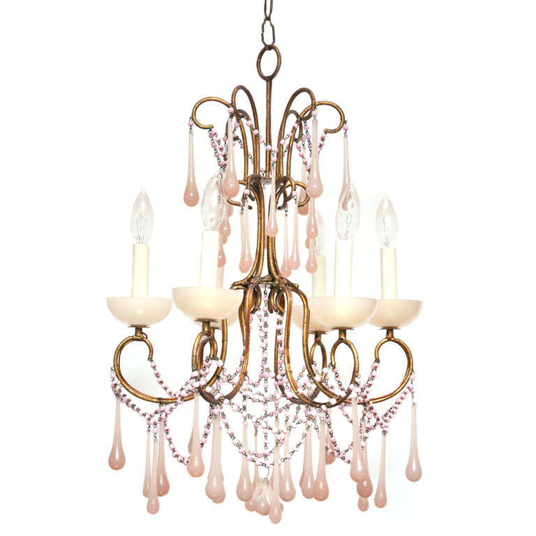 Pale Pink Opaline Glass Chandelier