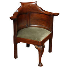 George II Figured Elm Corner Desk Chair, English c. 1740