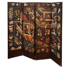 Antique  Four Panel  Leather Chinoiserie Screen c.1690