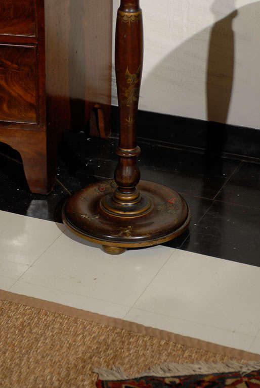 Japanned English Chinoiserie Floor Lamp For Sale