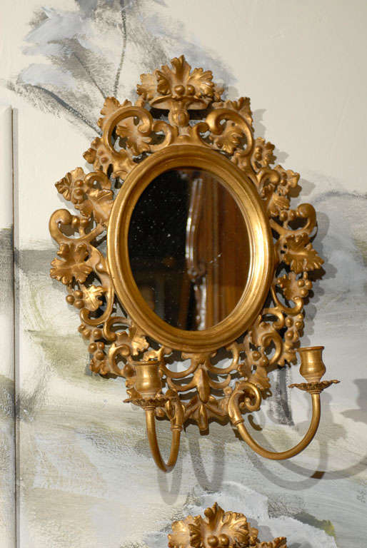 Italian Pair of Vintage Mirrored Candle Sconces For Sale