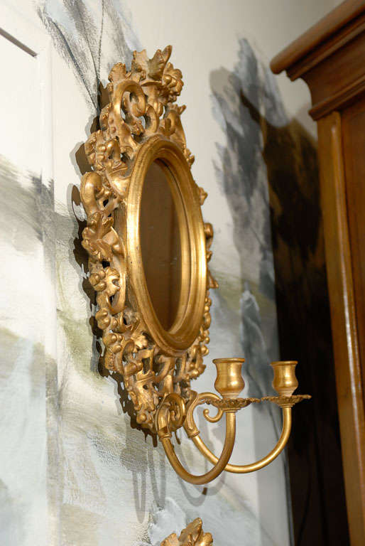 20th Century Pair of Vintage Mirrored Candle Sconces For Sale