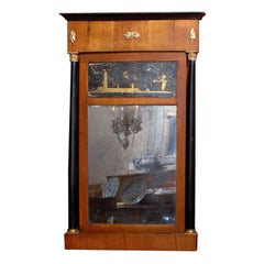 19th Century American Fruitwood Eglomise Mirror