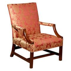 18th Century English George III Mahogany Library Chair