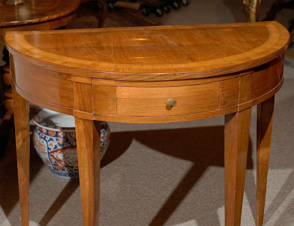 Italian Neoclassical Demi-lune Inlaid Console Table In Distressed Condition For Sale In Atlanta, GA