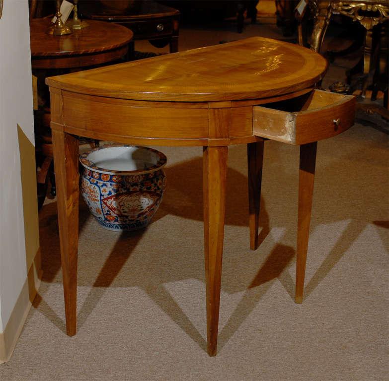 Walnut Italian Neoclassical Demi-lune Inlaid Console Table For Sale