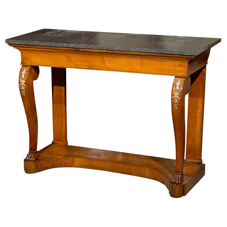 Charles X Walnut Console Table with  Black Marble Top