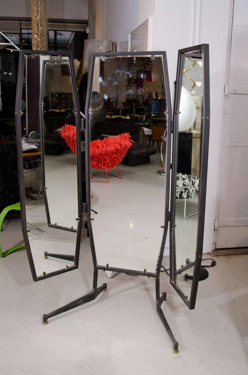 Italian Full Length Adjustable Three Way Mirror For Sale
