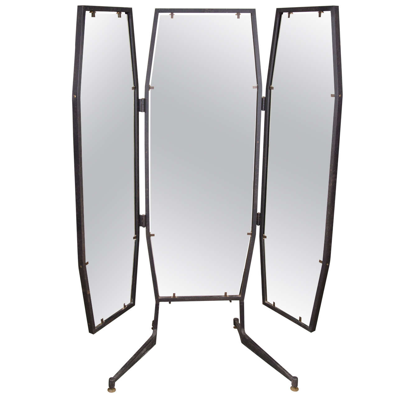 Italian Full Length Adjustable Three-Way Mirror For Sale at 1stdibs