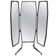 Triple Panel Full Length Mirror At 1stdibs