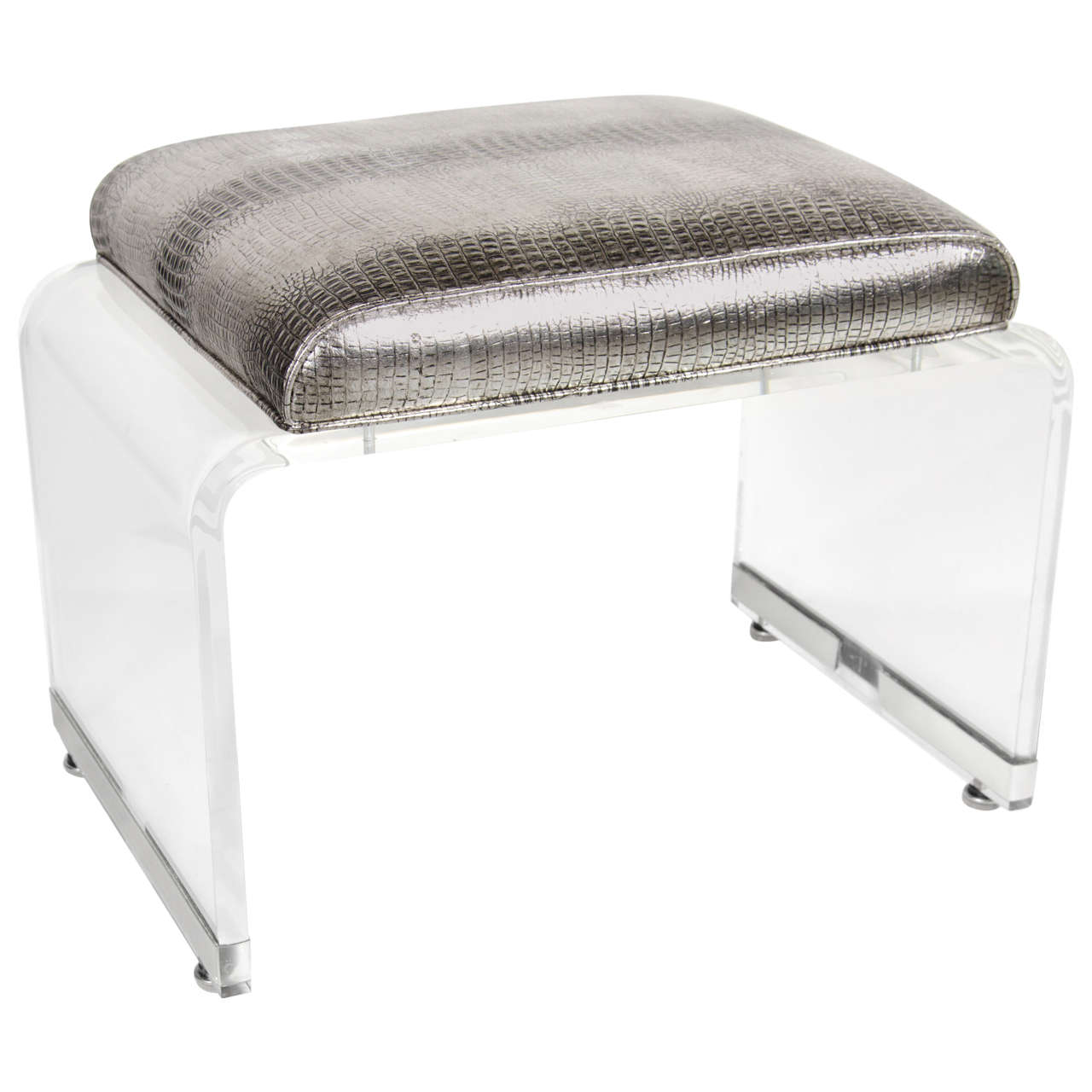 Ultra Chic Mid Century Lucite Waterfall Design Bench Stool At 1stdibs