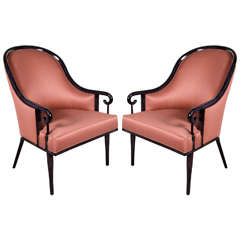 Ultra Chic Pair of Mid-Century Scroll Arm Chairs with Spoon Back design