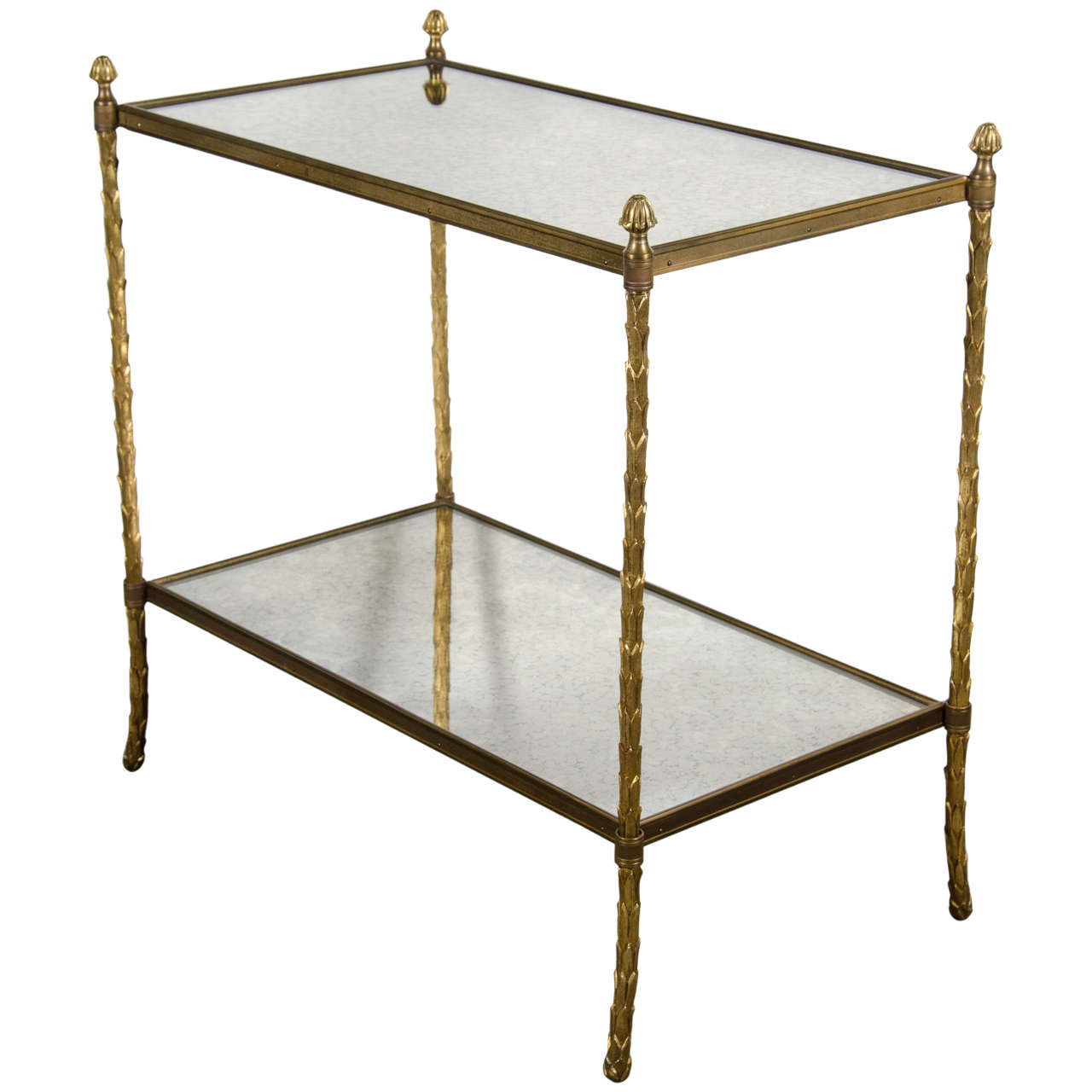 Elegant Bagues Gilt Bronze And Antique Mirror Two Tiered Table 1