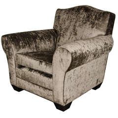 Gorgeous Art Deco French Club/Lounge Chair in Smoked Pewter Velvet
