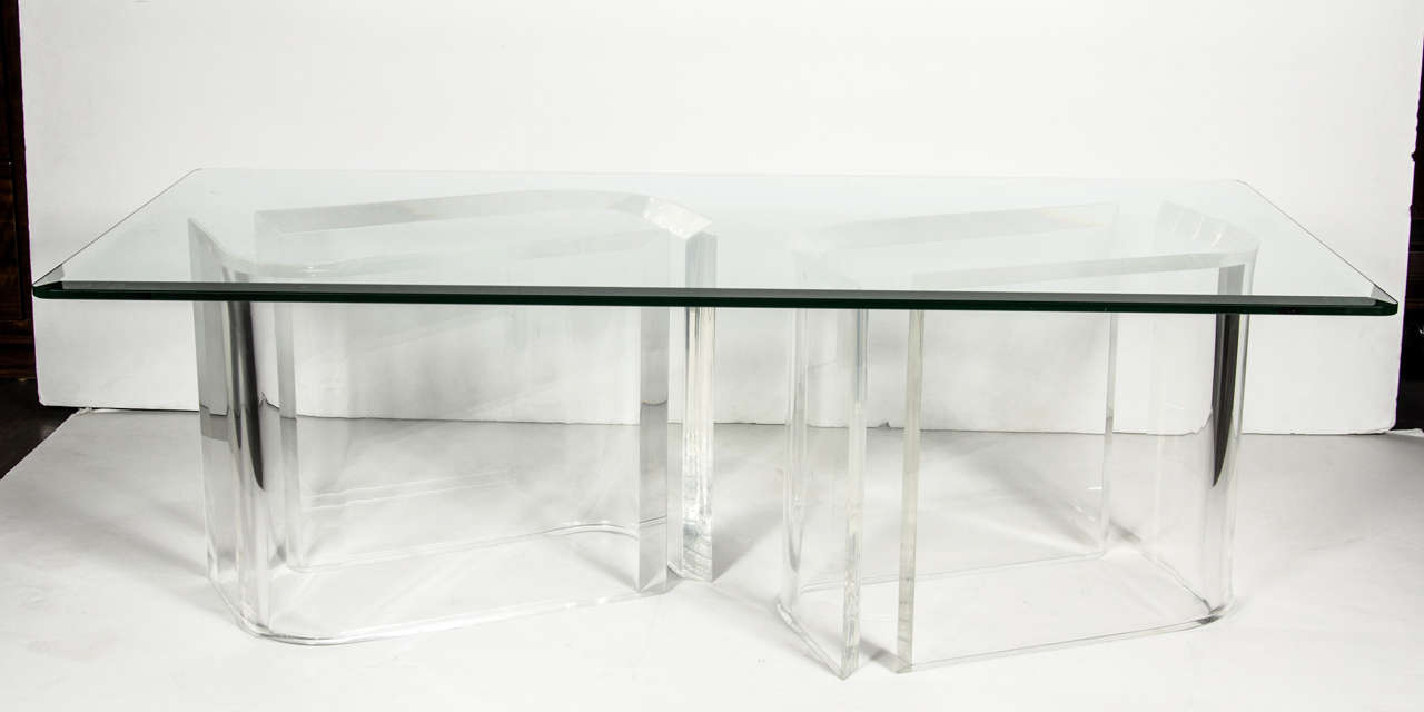 Modernist Free Form Lucite And Glass Cocktail Table At 1stdibs