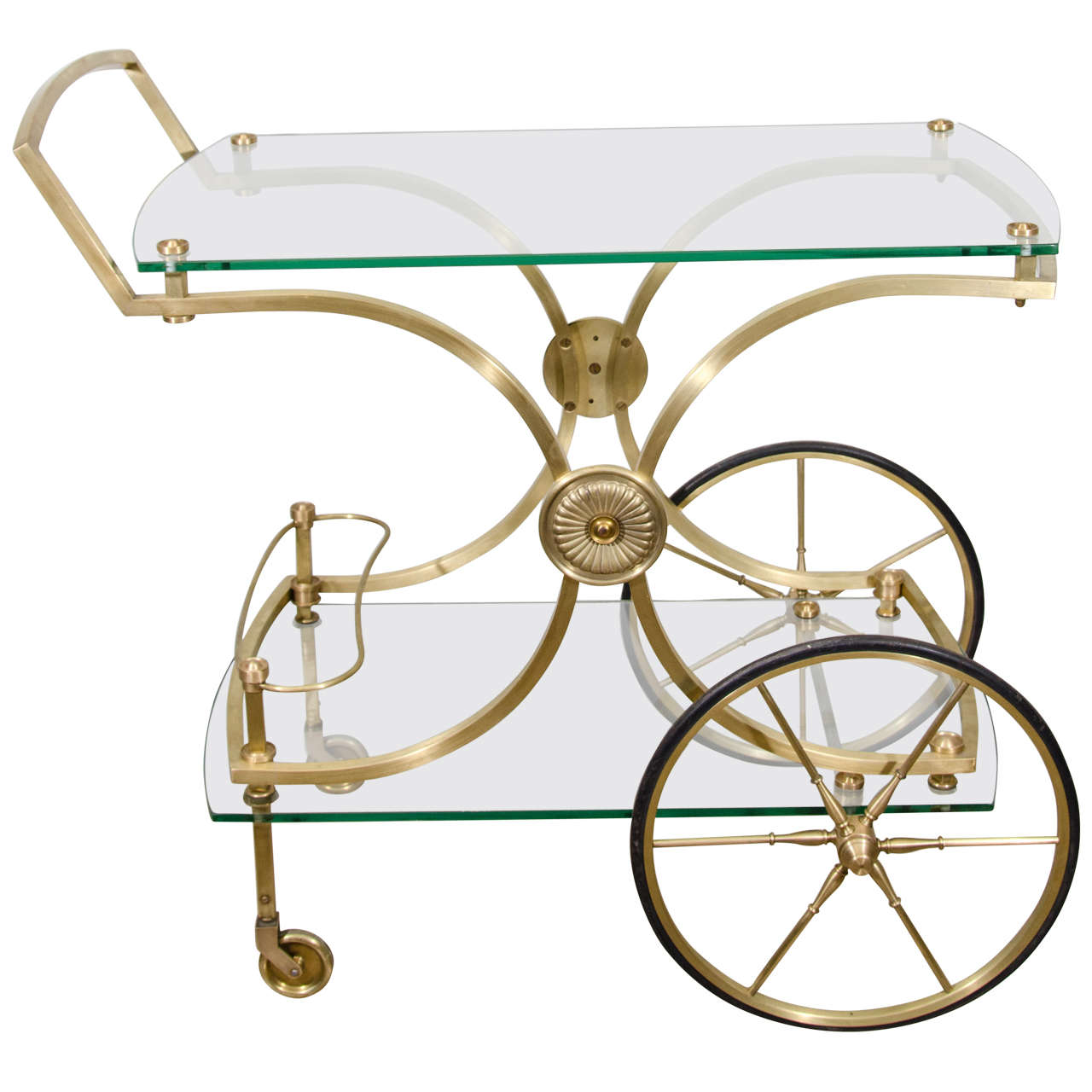 French Glass &  Brass Barcart For Sale