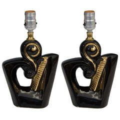 Midcentury Decorative Pair of Black and Gold Ceramic Lamps