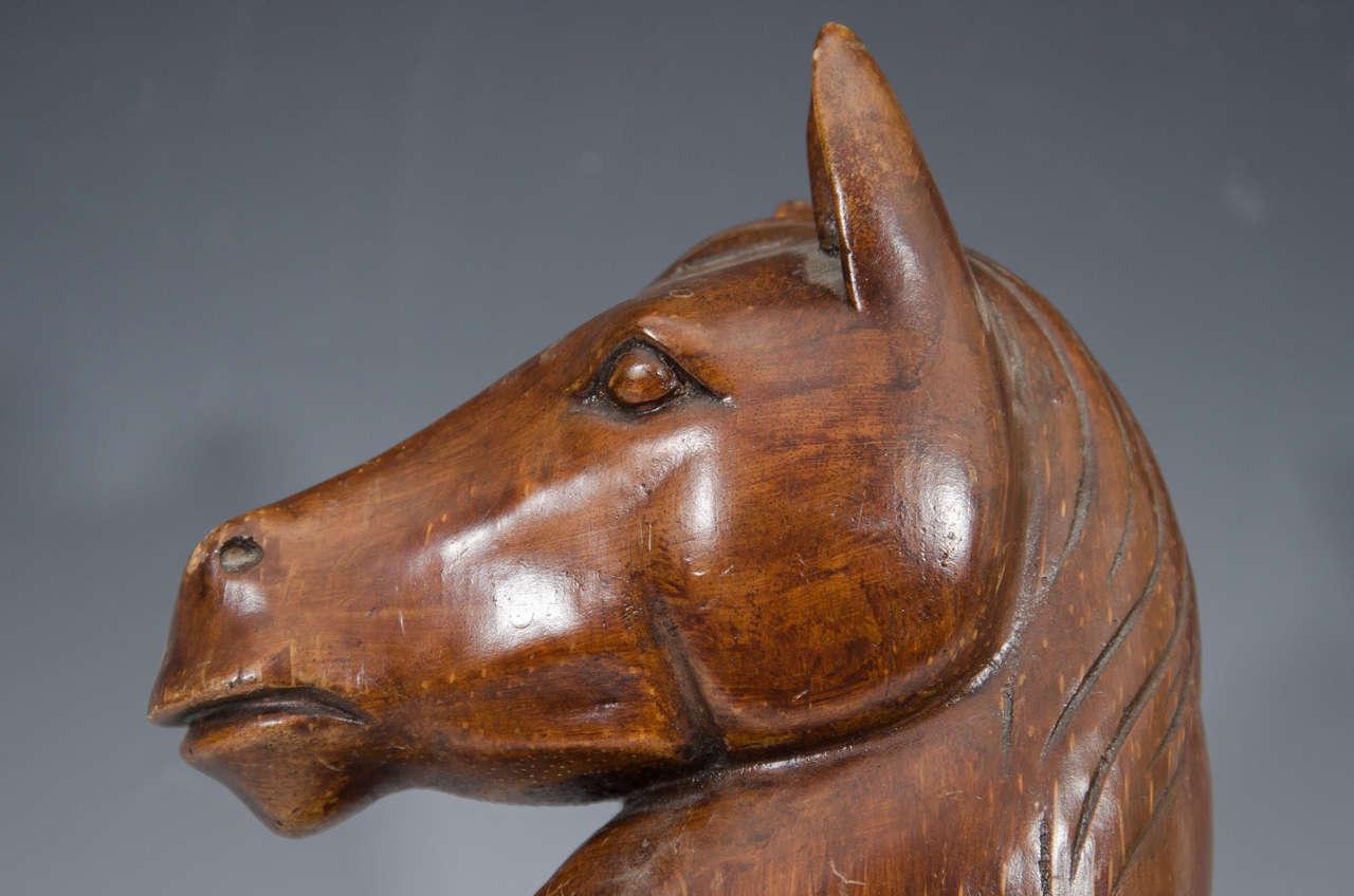 Antique carved wood burmese horse head sculpture or for Vintage horseshoes for sale