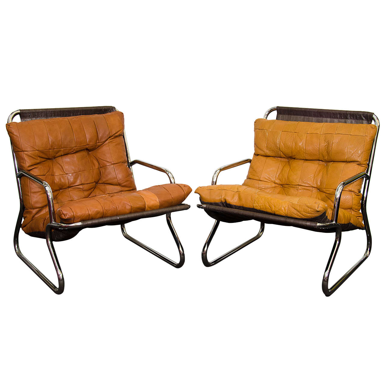 Danish Modern Set Of Two Tubular Chrome And Leather Lounge Chairs At 1stdibs