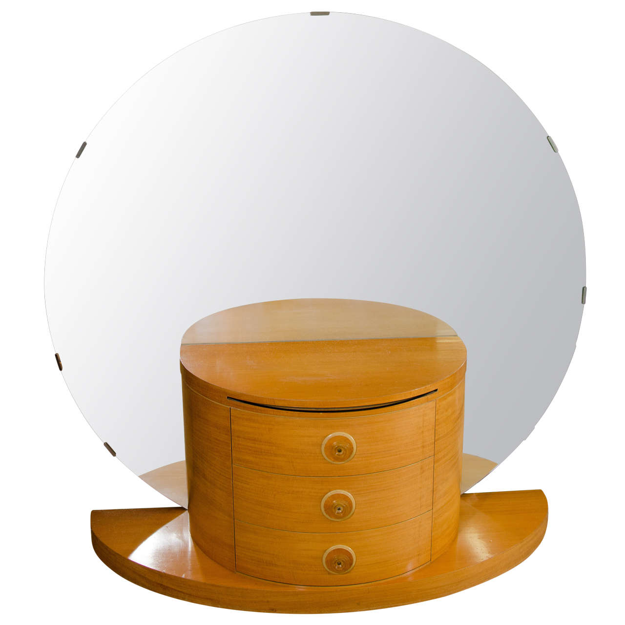 Art Deco Vanity Or Dressing Table With Large Round Mirror