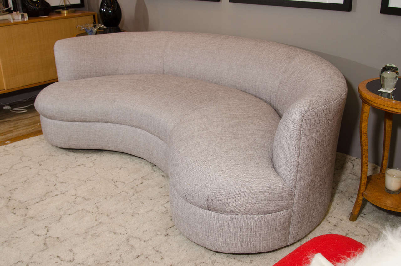 Midcentury Kidney-Shaped Sofa, Newly Reupholstered 2