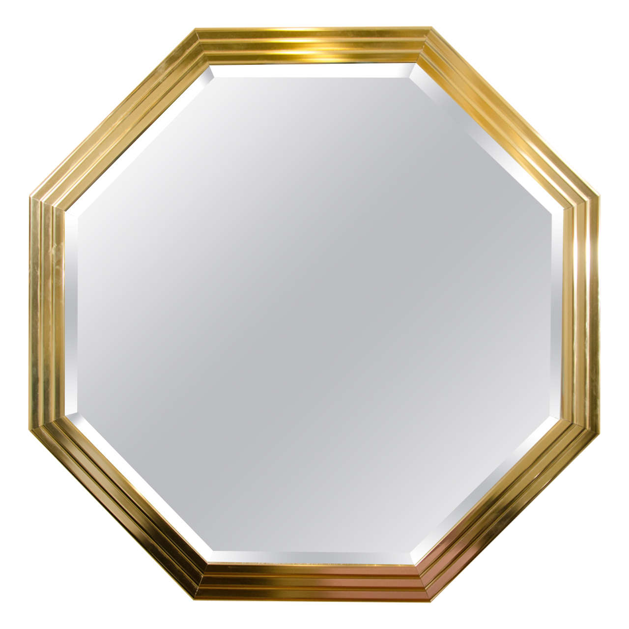 Midcentury octagonal brass wall mirror with beveled edge for Octagon beveled mirror