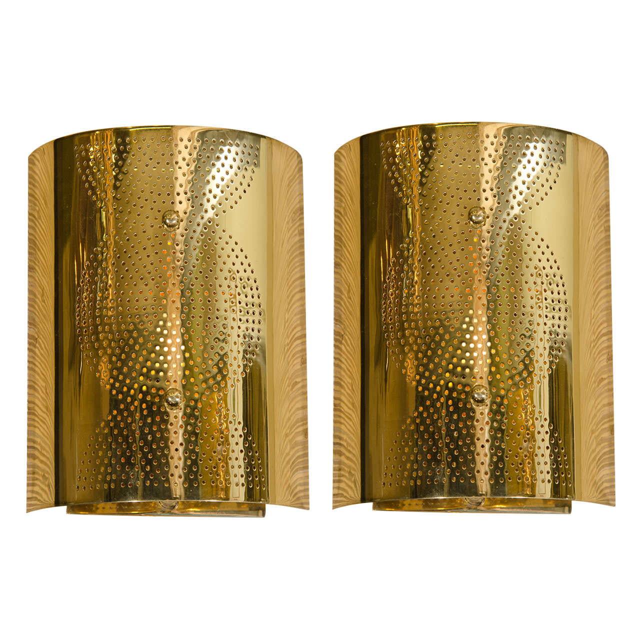 Ordinaire Contemporary Pair Of Perforated Brass Wall Sconces For Sale