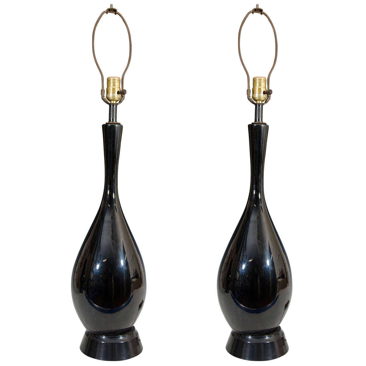 Vintage Pair of Black Ceramic Table Lamps with Elongated Necks For Sale
