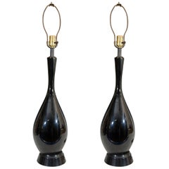 Vintage Pair of Black Ceramic Table Lamps with Elongated Necks