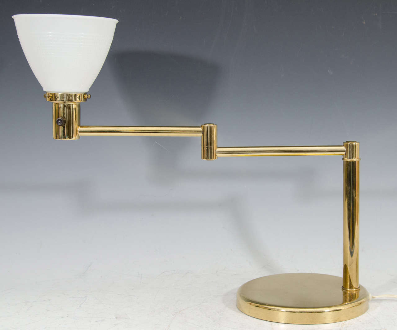 Modern brass desk or table lamp by walter von nessen ca 1970s for a 70s modern adjustable swing arm brass desk or table lamp with white milk glass aloadofball Images