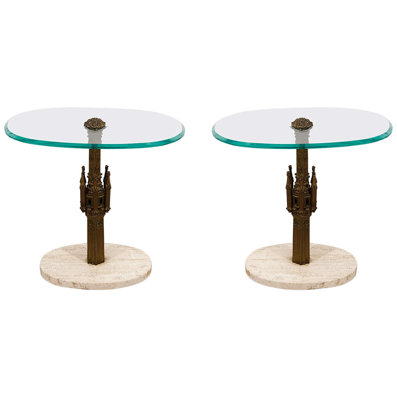 Pair Midcentury Italian Brass Glass and Marble Side Tables