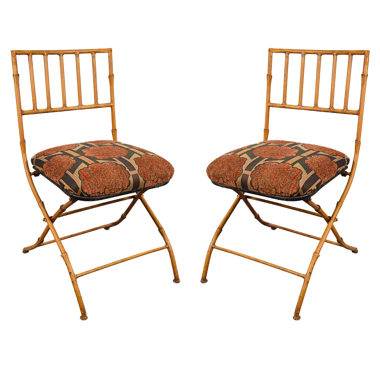 Midcentury Pair Of French Iron Faux Bamboo Folding Chairs At 1stdibs