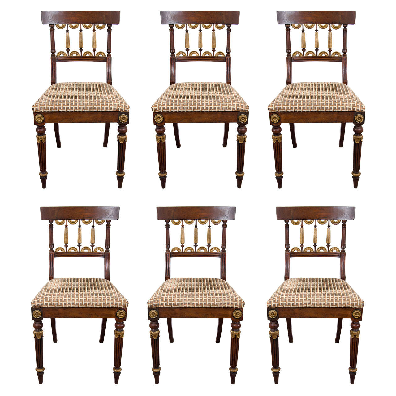 19th Century Set of Six Rosewood Dining or Side Chairs with Gilt Detail