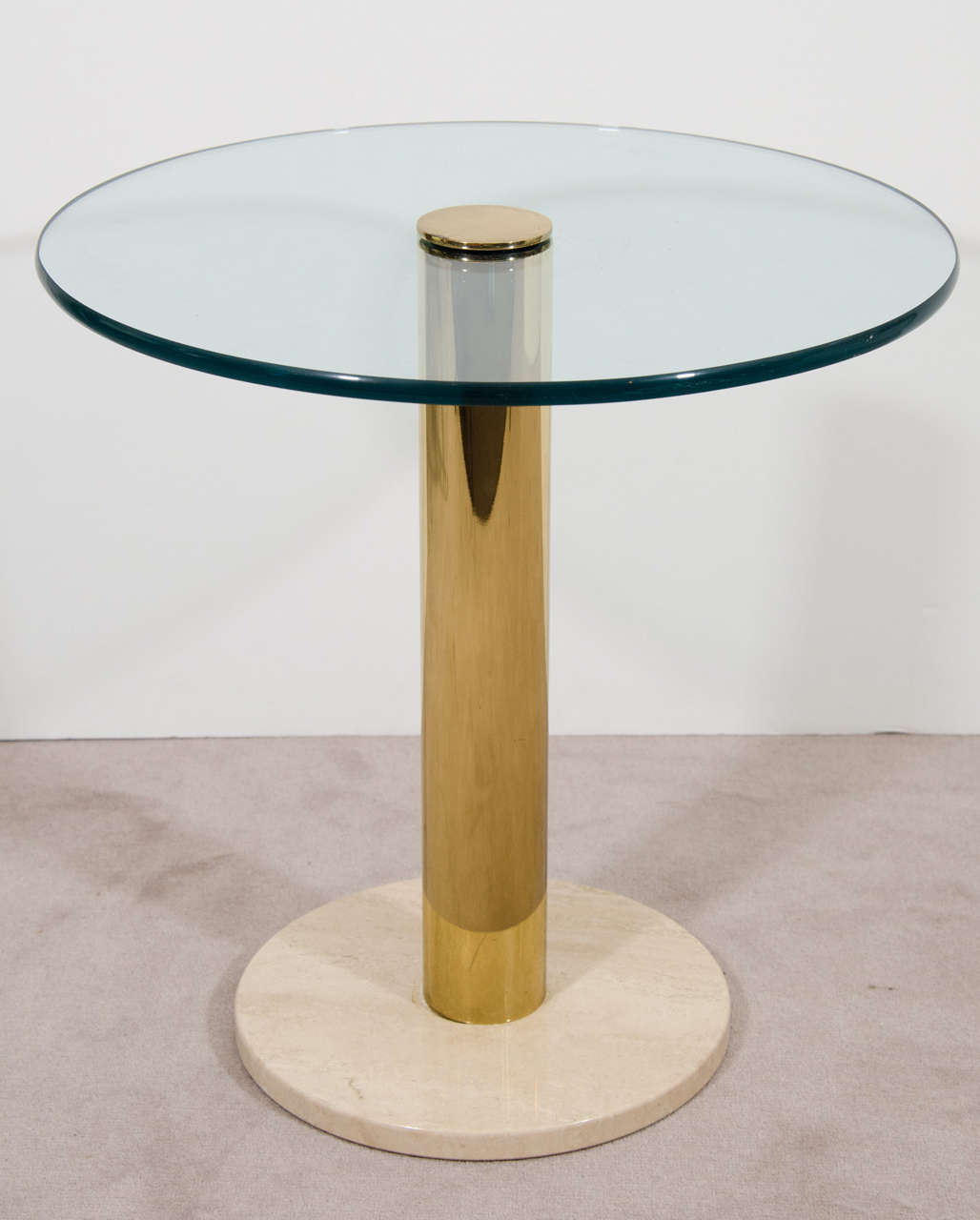 Square Steel Coffee Table Italian C 1970: Italian Modern Brass, Glass, And Marble Side Table By Pace