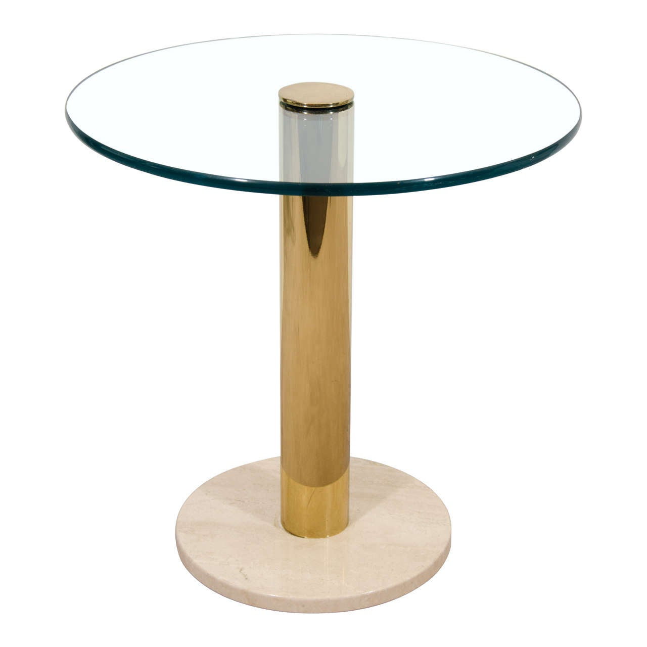 Modern Italian Brass, Glass and Marble Side Table by Pace, ca. 1970s