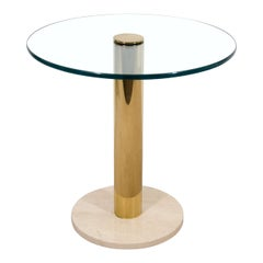 Modern Italian Round Brass, Glass and Marble Side Table by Pace, ca. 1970s