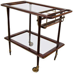 Midcentury Two-Tier French Bar Cart or Serving Trolley