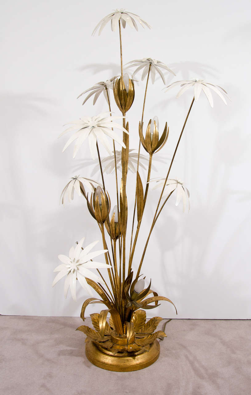 French Tole Sculptural Flower Form Floor Lamp 2