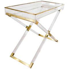 Midcentury Folding Tray Table or Bar Console Attributed to Philippe Cheverny