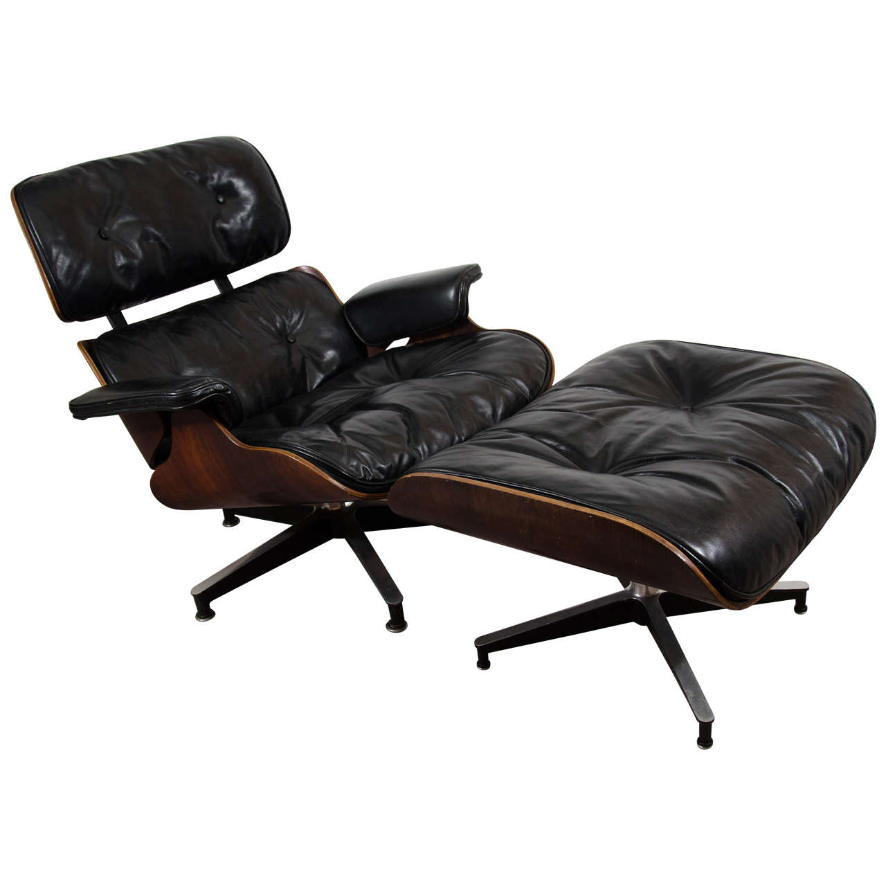 Midcentury Classic Eames Rosewood Chair And Ottoman In Black Leather Upholstery