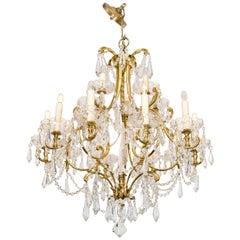 1950s Italian Fifteen-Light Crystal and Brass Chandelier