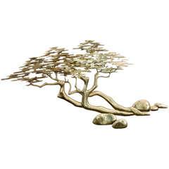 20th Century Brass Bonsai Tree Wall Sculpture by Bijan