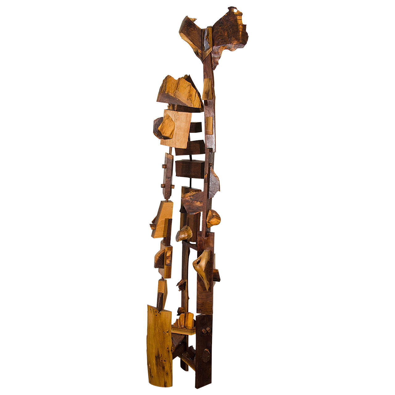 Midcentury Wooden Abstract Sculpture Inspired by Nakashima