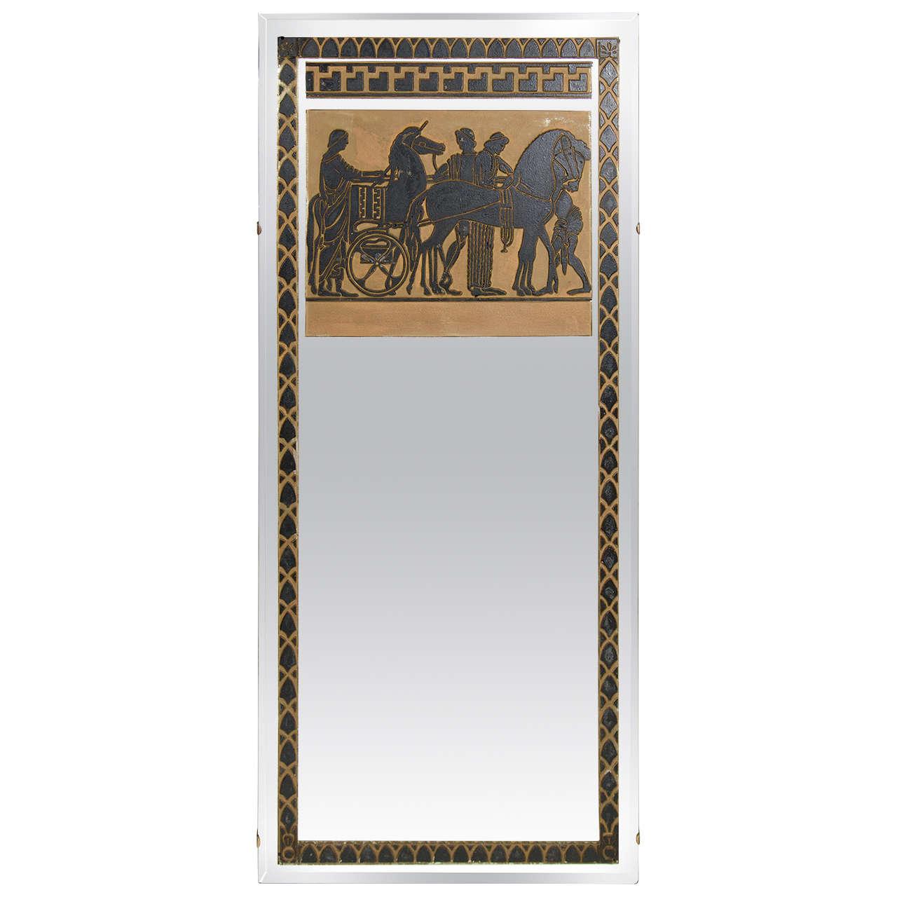 Art deco trumeau mirror with ancient greek scene for sale at 1stdibs art deco trumeau mirror with ancient greek scene for sale jeuxipadfo Gallery