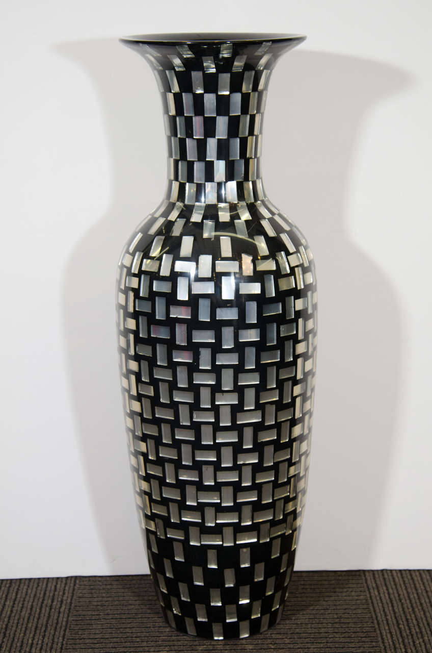 Contemporary Decorative Tall Mosaic Tile Glass Vase For