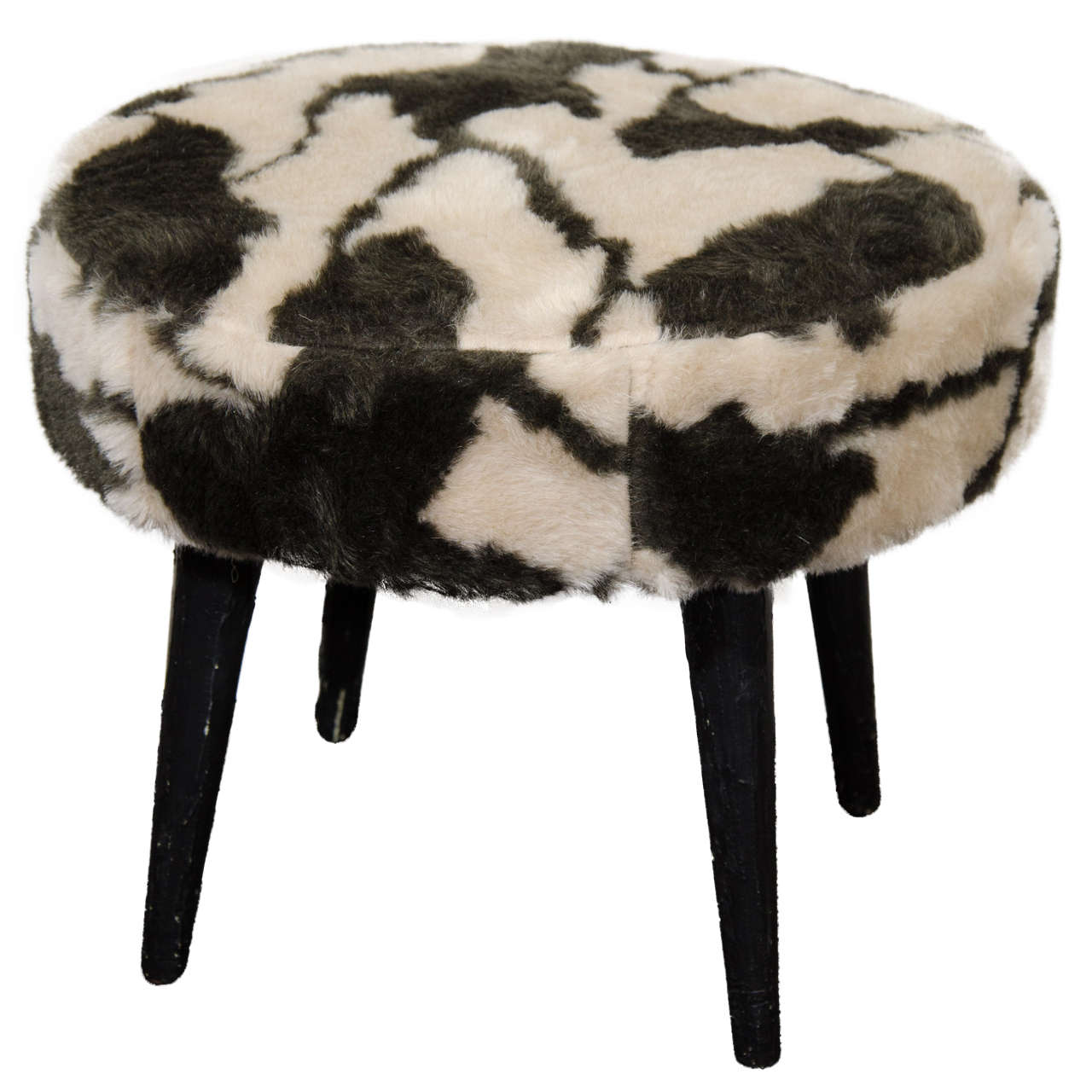 Midcentury Drum Style Bench Or Stool With Animal Print At