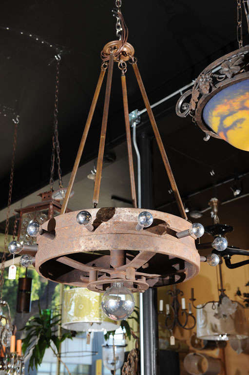 Pair Of Tractor Wheel Chandeliers At 1stdibs