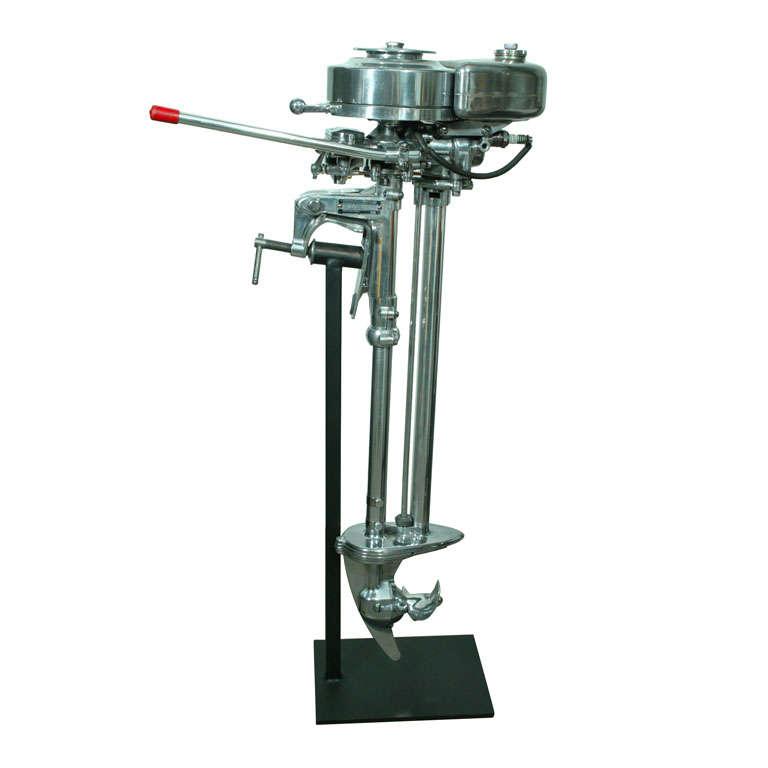 Polished Aluminum Evinrude Outboard Motor