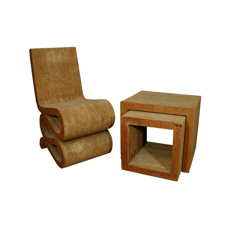 frank gehry corrugated cardboard chair and nesting tables